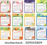 vector cartoon multicolored... | Shutterstock .eps vector #309045809