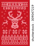 red ugly christmas 2015 sweater ... | Shutterstock .eps vector #309047219