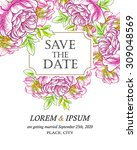 invitation with floral... | Shutterstock .eps vector #309048569