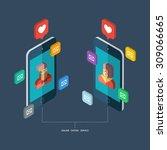 online dating service  virtual... | Shutterstock .eps vector #309066665