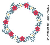vector floral concept of circle ... | Shutterstock .eps vector #309070319