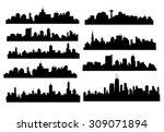 modern city skyline silhouette... | Shutterstock .eps vector #309071894