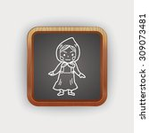 dutch woman doodle | Shutterstock .eps vector #309073481