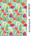 spring seamless pattern with... | Shutterstock .eps vector #309078959