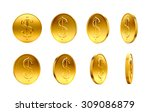 gold coins with dollar sign... | Shutterstock . vector #309086879