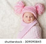 baby girl wrapped up in newborn ... | Shutterstock . vector #309090845