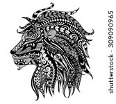 ethnic patterned head of lion... | Shutterstock .eps vector #309090965