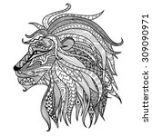 hand drawn lion coloring page. | Shutterstock .eps vector #309090971