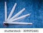 wooden meter on scratched... | Shutterstock . vector #309092681