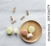 colorful macaroons on white... | Shutterstock . vector #309106079