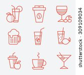 set of drinks icons  flat... | Shutterstock .eps vector #309109034