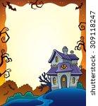 halloween frame with haunted... | Shutterstock .eps vector #309118247