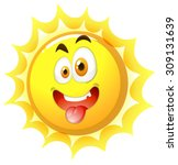 silly face on the sun... | Shutterstock .eps vector #309131639