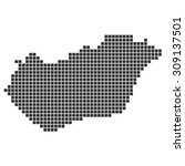 black dotted pixel map showing... | Shutterstock . vector #309137501