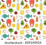 seamless pattern with cooking... | Shutterstock .eps vector #309140924