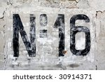 number sixteen painted on old... | Shutterstock . vector #30914371