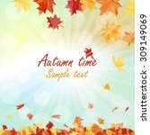 autumn  frame with falling ... | Shutterstock .eps vector #309149069