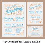 letterpress wedding invitation... | Shutterstock .eps vector #309152165