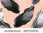 tropical monochrome jungle palm ... | Shutterstock .eps vector #309154031
