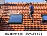 roof cleaning with high pressure | Shutterstock . vector #309155681