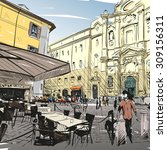 City Hand Drawn. Cafe Sketch ...