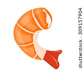 shrimp isolated illustration on ... | Shutterstock .eps vector #309157904