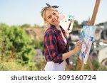 beautiful blonde woman artist... | Shutterstock . vector #309160724