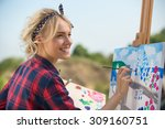 beautiful blonde woman artist... | Shutterstock . vector #309160751