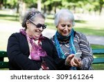 two senior ladies having fun... | Shutterstock . vector #309161264