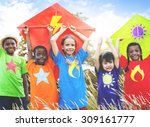 kids diverse playing kite field ... | Shutterstock . vector #309161777