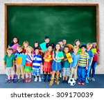 multiethnic children smiling... | Shutterstock . vector #309170039