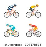 Cyclists On Bikes  Icons Set...