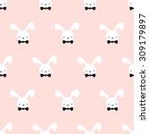 seamless pattern cute bunny art ... | Shutterstock .eps vector #309179897