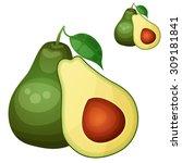 avocado 2. cartoon vector icon... | Shutterstock .eps vector #309181841