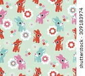 seamless kids illustration baby ... | Shutterstock .eps vector #309183974