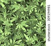 seamless cannabis leaves... | Shutterstock . vector #309194981