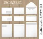three white envelopes set.... | Shutterstock .eps vector #309198161