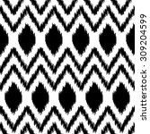 black and white ethnic ikat... | Shutterstock .eps vector #309204599