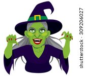 Old Evil Scary Green Skin Witch ...