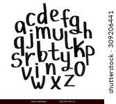 handwritten calligraphic black...   Shutterstock .eps vector #309206441
