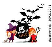 Halloween Sale Cartoon Design...