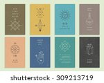 set of vector trendy cards with ... | Shutterstock .eps vector #309213719