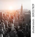 New York Skyline Black And...