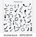 hand drawn vector arrows.black... | Shutterstock .eps vector #309218549