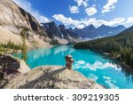 beautiful moraine lake in banff ... | Shutterstock . vector #309219305