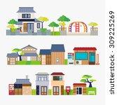 japanese house | Shutterstock .eps vector #309225269
