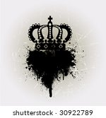 grunge royal crown vector with... | Shutterstock .eps vector #30922789