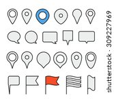 navigation pins collection.... | Shutterstock .eps vector #309227969