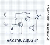 electronic circuit scheme on... | Shutterstock .eps vector #309228479