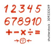 set of numbers and mathematical ... | Shutterstock .eps vector #309233249
